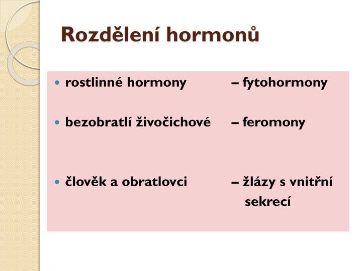 Rozdělení hormonů