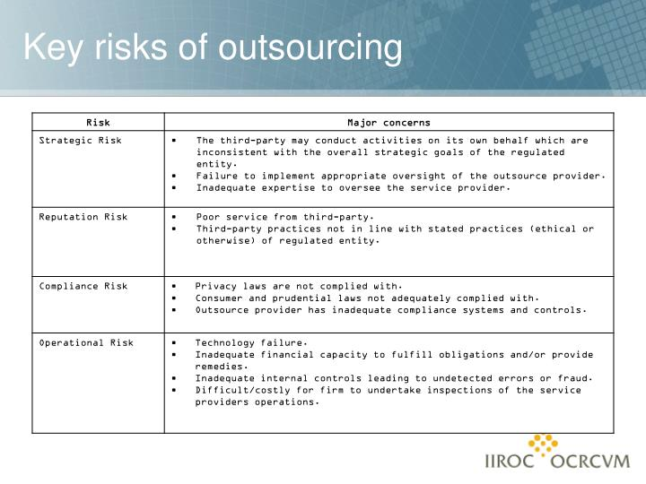 Key risks of outsourcing