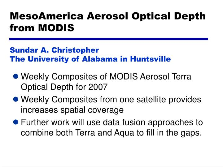 MesoAmerica Aerosol Optical Depth from MODIS