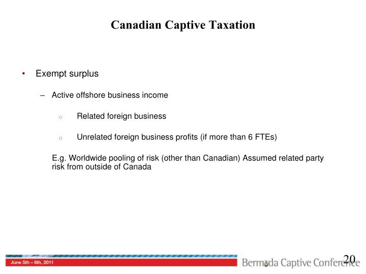 Canadian Captive Taxation