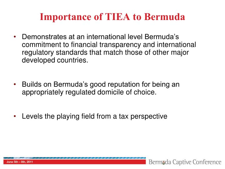 Importance of TIEA to Bermuda