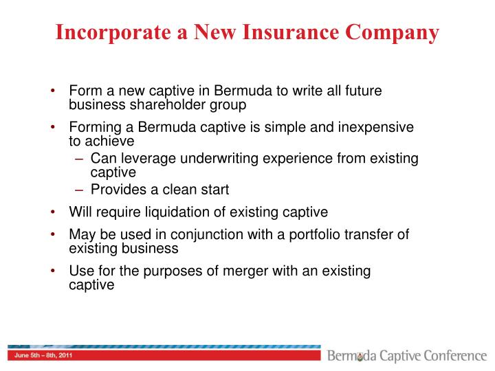 Incorporate a New Insurance Company