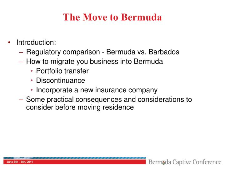 The Move to Bermuda