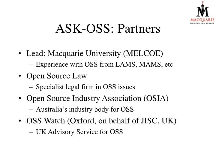 ASK-OSS: Partners