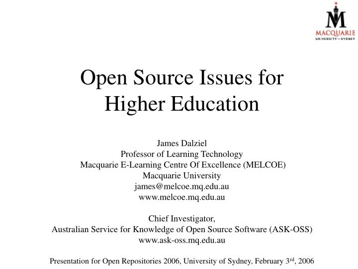 Open Source Issues for