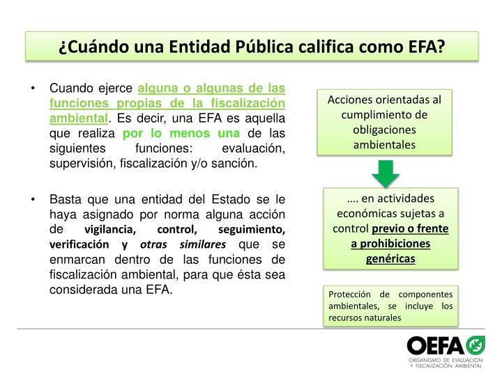 ¿Cuándo una Entidad Pública califica como EFA?
