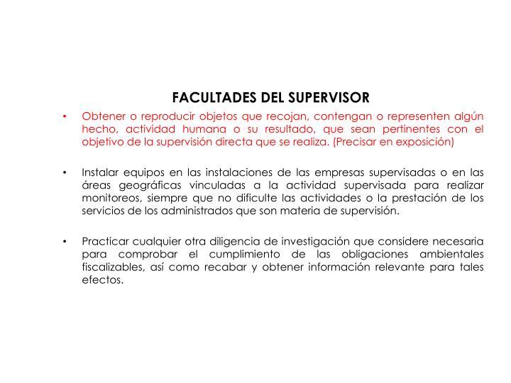 FACULTADES DEL SUPERVISOR