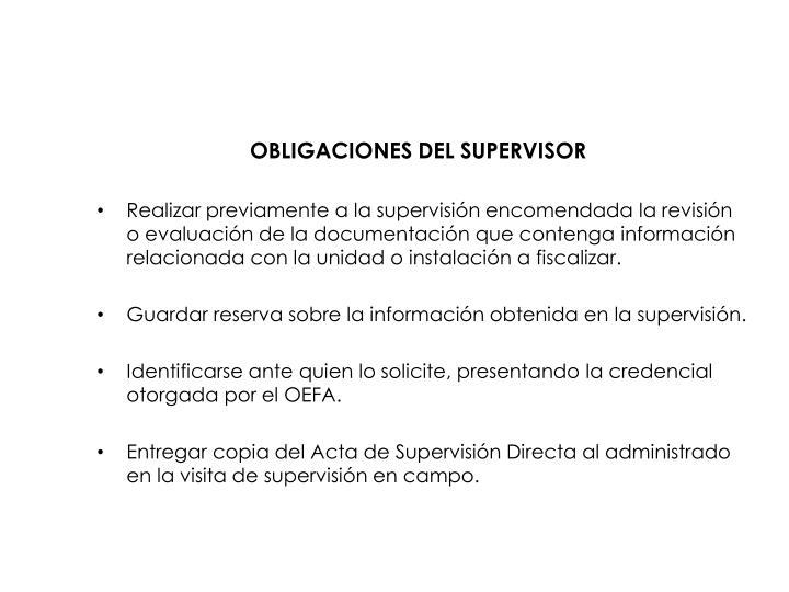 OBLIGACIONES DEL SUPERVISOR