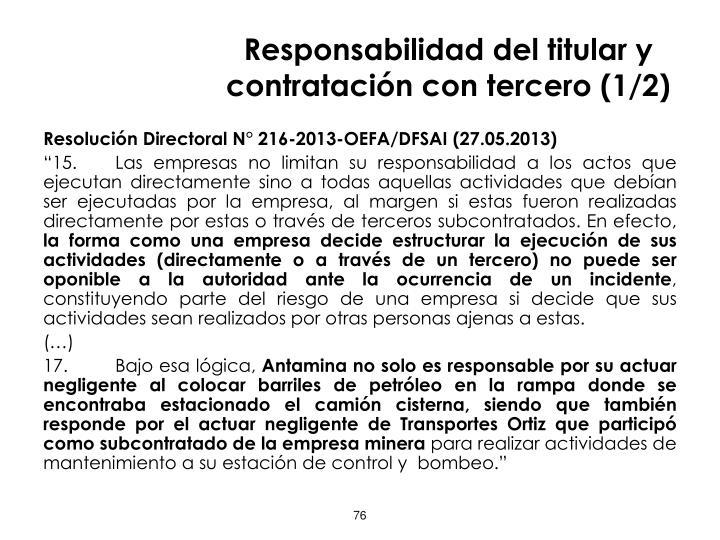 Responsabilidad del titular y contratación con tercero (1/2)