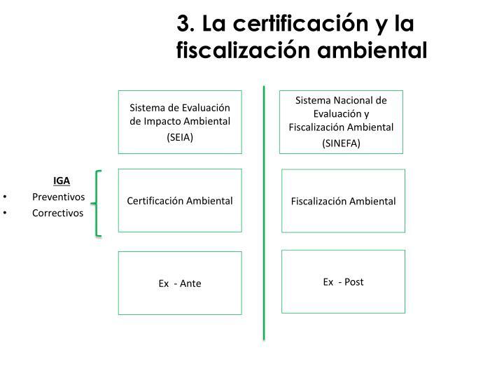 3. La certificación y la fiscalización ambiental
