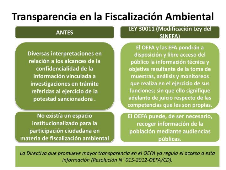 Transparencia en la Fiscalización Ambiental