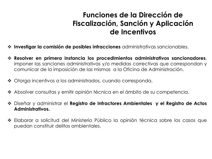 Funciones de la Dirección de Fiscalización, Sanción y Aplicación de Incentivos