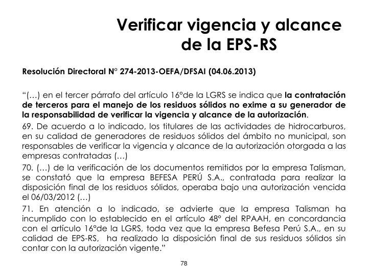 Verificar vigencia y alcance de la EPS-RS