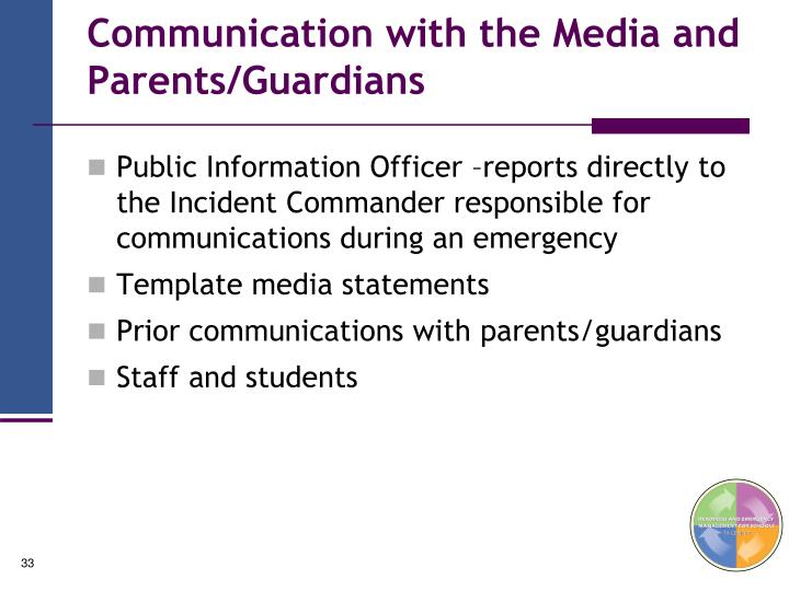 Communication with the Media and Parents/Guardians