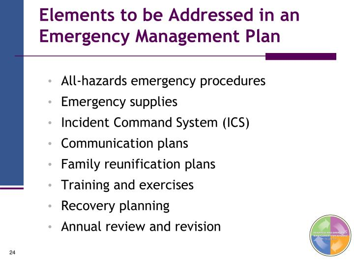 Elements to be Addressed in an Emergency Management Plan