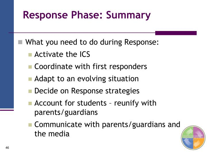 Response Phase: Summary