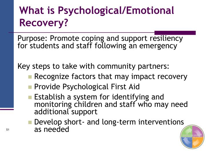 What is Psychological/Emotional Recovery?