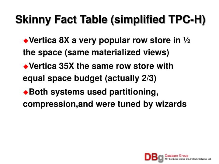 Skinny Fact Table (simplified TPC-H)