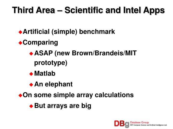 Third Area – Scientific and Intel Apps