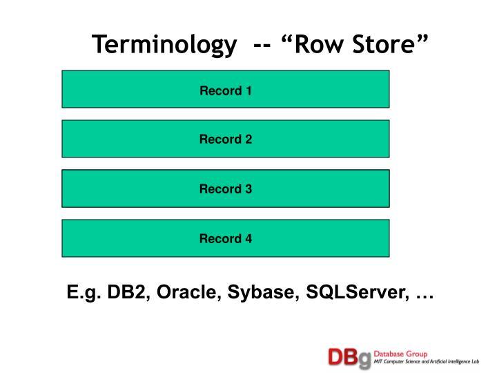 "Terminology  -- ""Row Store"""