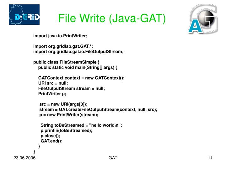 File Write (Java-GAT)