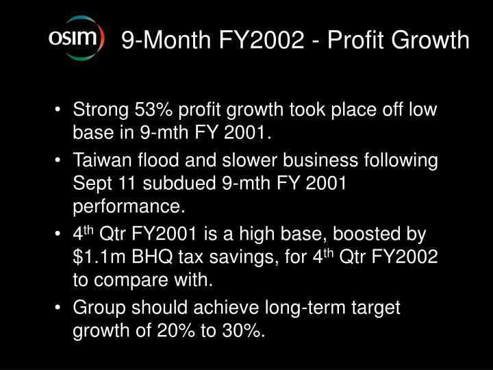 9-Month FY2002 - Profit Growth