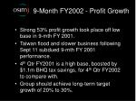 9 month fy2002 profit growth