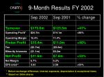 9 month results fy 2002