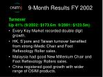 9 month results fy 20021