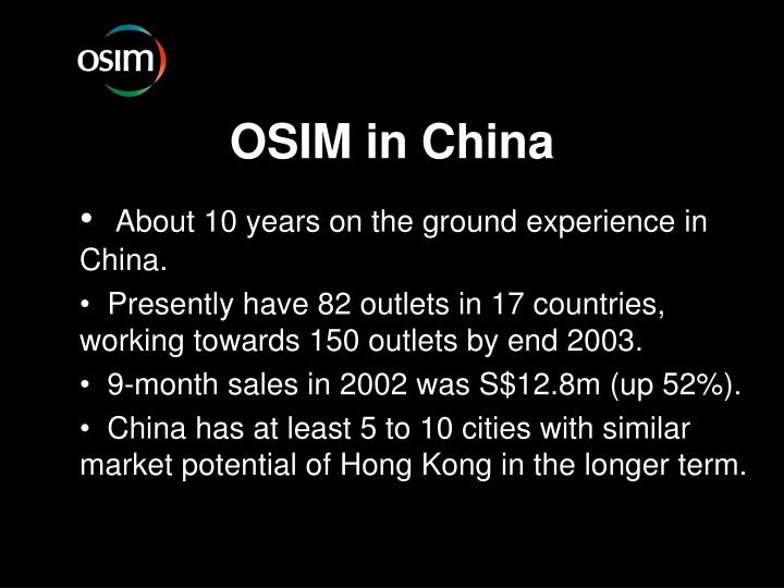 OSIM in China