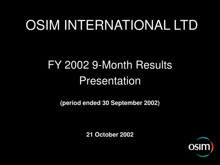 OSIM INTERNATIONAL LTD