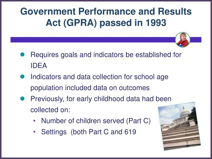 Government Performance and Results Act (GPRA) passed in 1993
