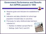 government performance and results act gpra passed in 1993