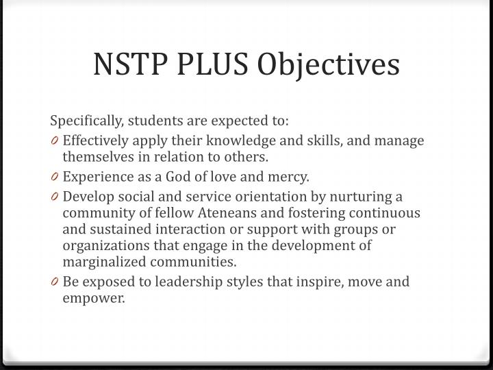 NSTP PLUS Objectives