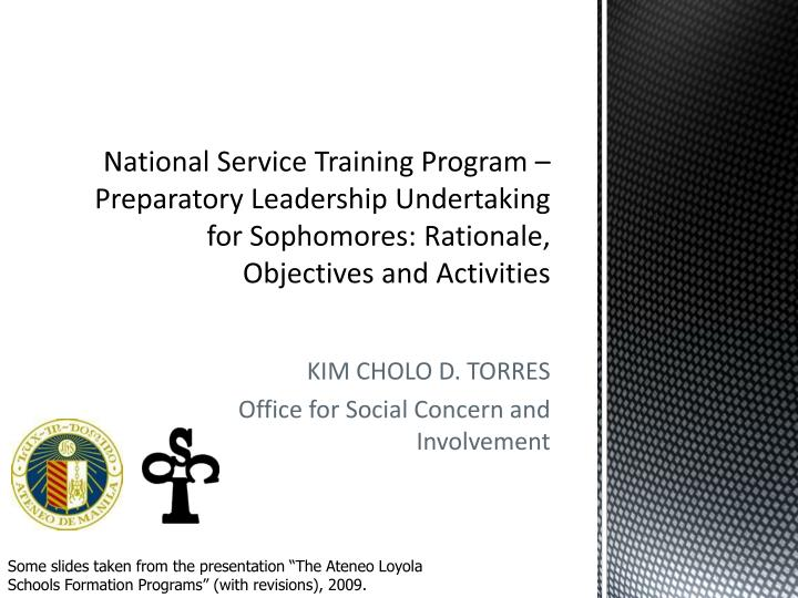 National Service Training Program – Preparatory Leadership Undertaking for Sophomores: Rationale, ...