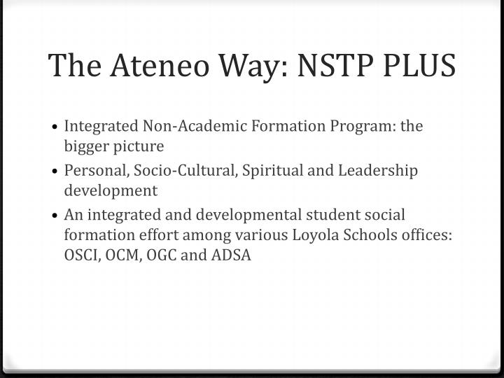The Ateneo Way: NSTP PLUS