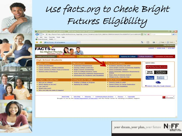 Use facts.org to Check Bright Futures Eligibility