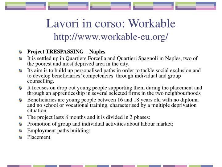 Lavori in corso: Workable