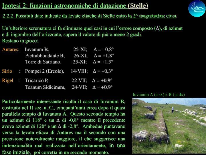 Ipotesi 2: funzioni astronomiche di datazione