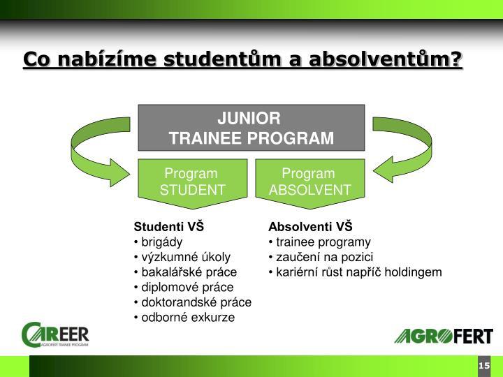 Co nabízíme studentům a absolventům?