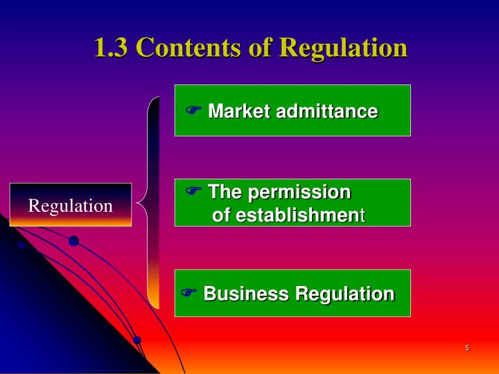 1.3 Contents of Regulation