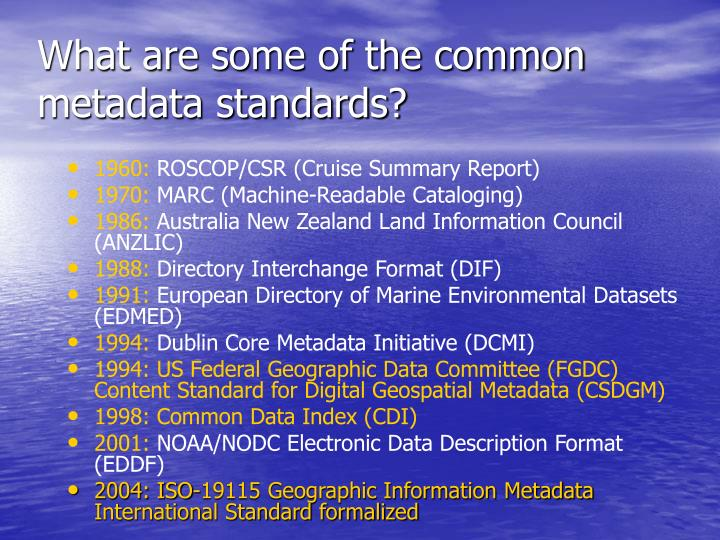 What are some of the common metadata standards?