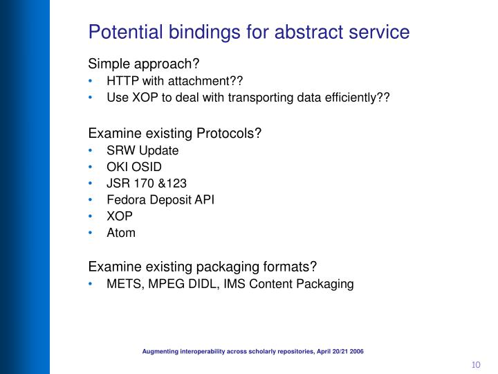 Potential bindings for abstract service
