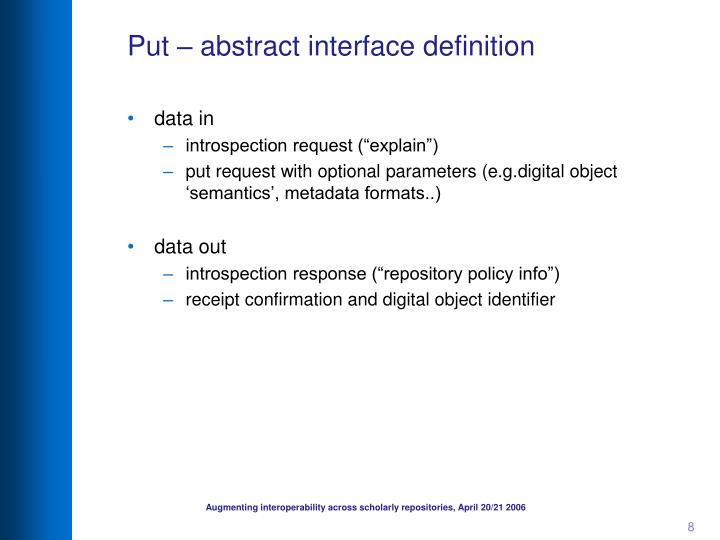 Put – abstract interface definition