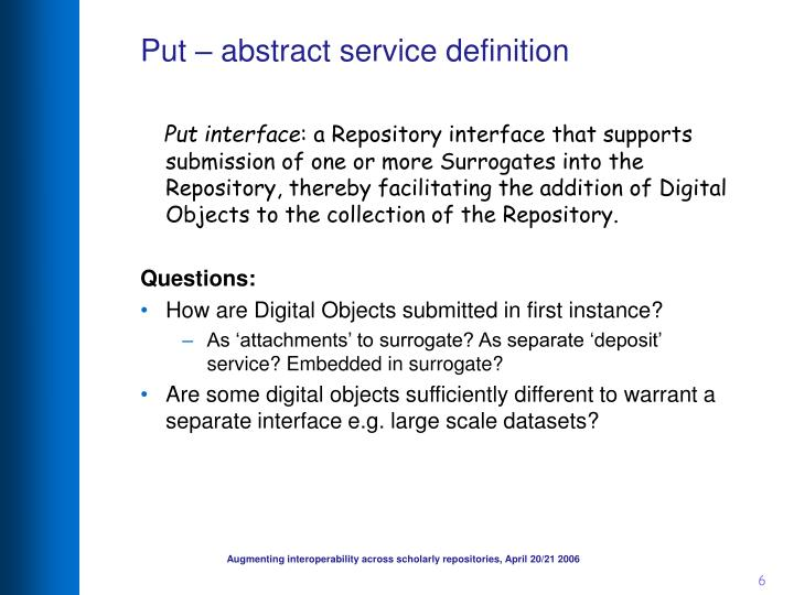 Put – abstract service definition