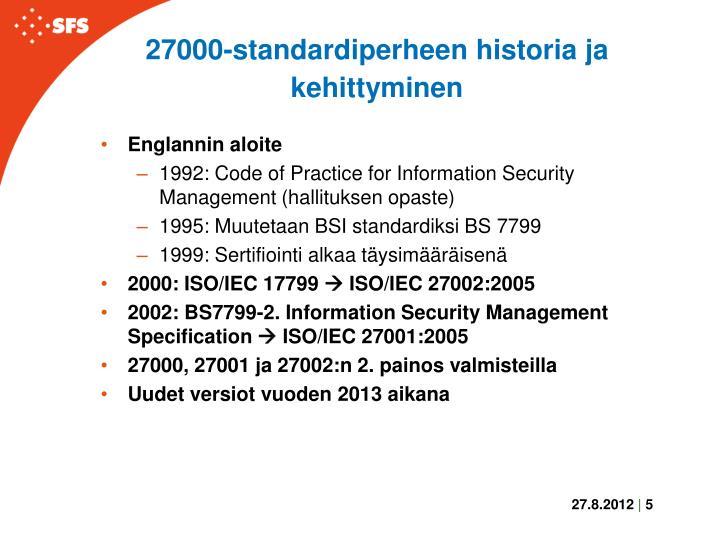 27000-standardiperheen historia ja kehittyminen
