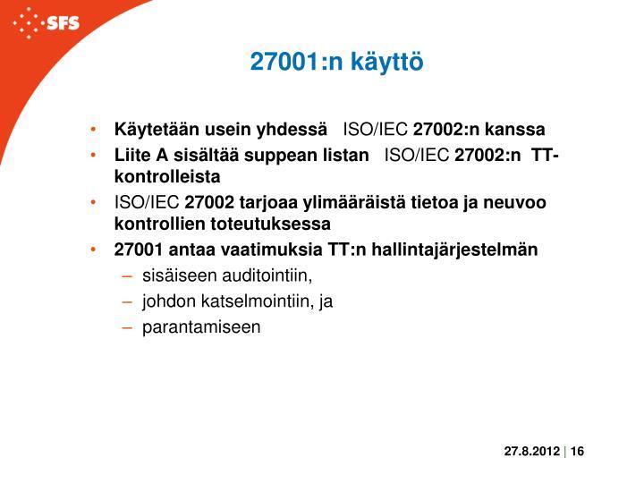 27001:n käyttö