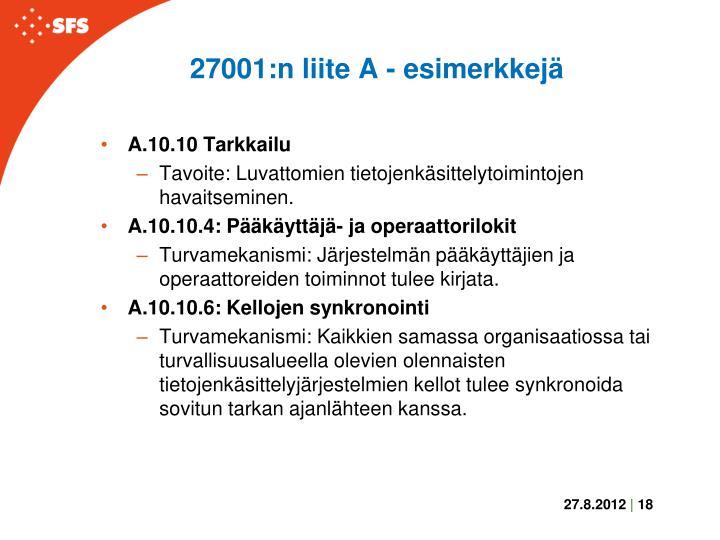27001:n liite A - esimerkkejä