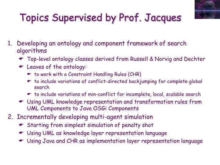 Topics supervised by prof jacques