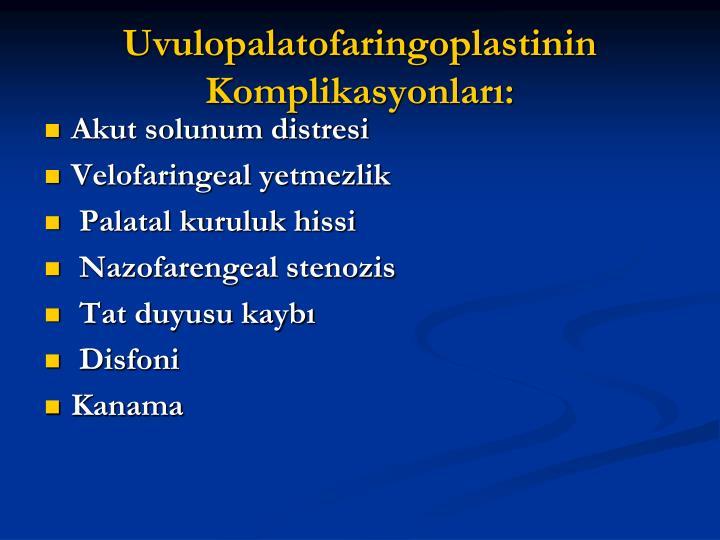 Uvulopalatofaringoplastinin Komplikasyonları: